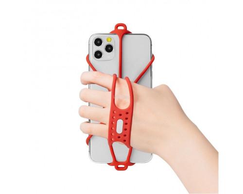 Держатель для смартфона 07-200321 силиконовый на кисть руки универсальный 4.7'-7,2' RUN TIE HANDHELD для бега и свободного ношения красный BONE