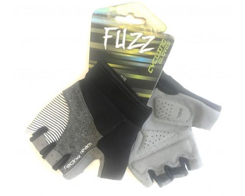Перчатки 08-202306 лайкра RACING TEAM серо-черные, размер XXL, D-GRIP GEL. с петельками, на липучке FUZZ