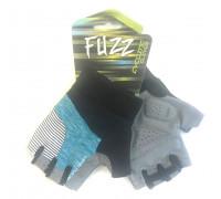Перчатки 08-202311 лайкра RACING TEAM черно-голубые, размер XS, D-GRIP GEL. с петельками, на липучке FUZZ
