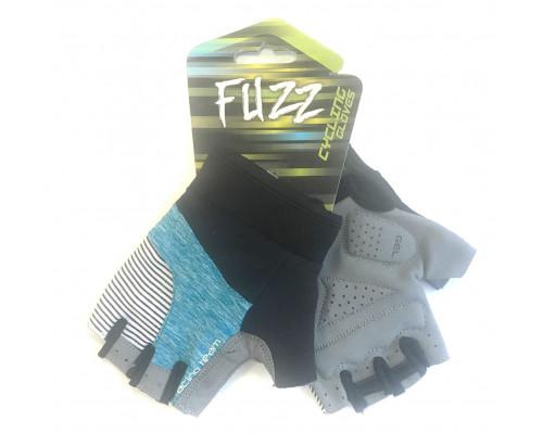 Перчатки 08-202315 лайкра RACING TEAM черно-голубые, размер XL, D-GRIP GEL. с петельками, на липучке FUZZ
