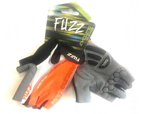 Перчатки 08-202326 лайкра AIR COMFORT черно-бело-оранжевые, размер XXL, D-GRIP GEL, на липучке FUZZ