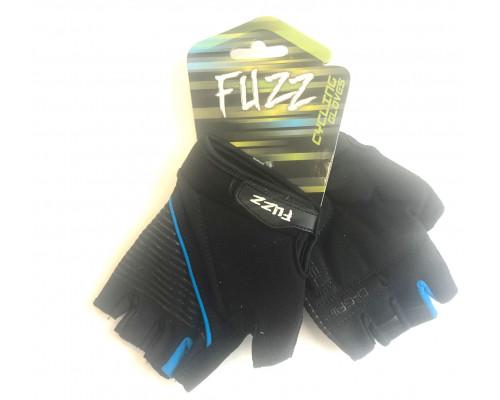 Перчатки 08-202342 лайкра GEL COMFORT черно-голубые, размер S, D-GRIP GEL. с петельками, на липучке FUZZ