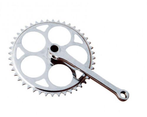 Система 00-170010 передняя 1 скоростная сталь 1/2х1/8 48зуб. шатун 175мм ″старого типа″ (клинья) серебристая