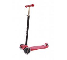 Самокат 00-170076-1 алюминий/пластик детский, регулируемый руль, со светящимися колесами 120 и 80мм ABEC-7 до 60кг красный