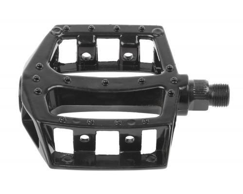 Педали 00-170340 алюминиевые литые широкие, с отражателями черные