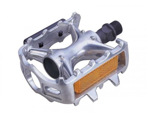 Педали 00-170361 алюминиевые литые с отражателями, серебристые