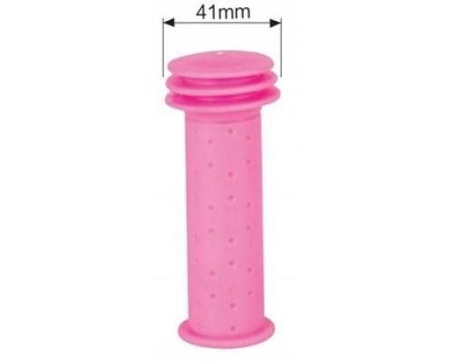Ручки 00-170455 на руль детские H96 резиновые 102мм с торцевой защитой розовые