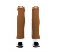Ручки 00-170555 на руль H217 OneSideLock 130мм резинов. c 1 фиксатором эргономичным коричневые