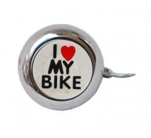 Звонок 00-170691 сталь детский серебристый с рисунком ″I love my bike″
