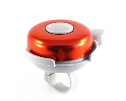 Звонок 00-170710 алюминий/пластик D=50мм серебристый-красный