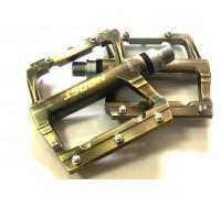 Педали 00-170821 алюминиевые H38G широкие, ось Cr-Mo с 1-м герметичным промподшипником+1DU, 90*105*7мм, 380 г электр. золотистые HORST