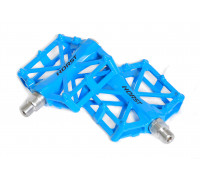 Педали 00-170834 алюминиевые H32 широкие литые с шипами. 92*95*15мм, 388 г синие HORST