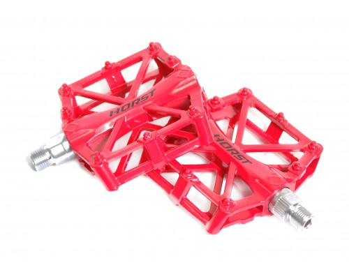 Педали 00-170838 алюминиевые H36 широкие с 2-мя герметичными промподшипниками 92*95*15мм, 420 г красные HORST
