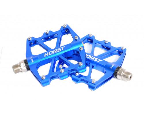 Педали 00-170840 алюминиевые H518 широкие, ось Cr-Mo с 4-мя герметичными промподшипниками сменными шипами 91*101*11мм, 340 г синие HORST