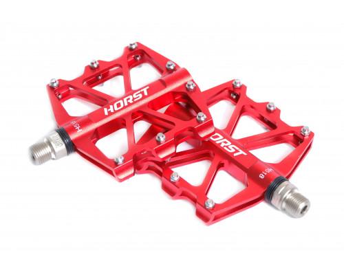 Педали 00-170841 алюминиевые H518 широкие, ось Cr-Mo с 4-мя герметичными промподшипниками сменными шипами 91*101*11мм, 340 г красные HORST