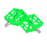 Педали 00-170849 алюминиевые H36 широкие с 2-мя герметичными промподшипниками 92*95*15мм, 420 г зеленые HORST