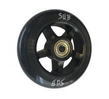 Колесо для самоката 00-180100 для труюкового самоката, фрезерованное алюминиевое с промподшипниками ABEC9 100мм SUB анодированное черное