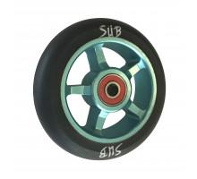 Колесо 00-180102 для ТРЮКОВОГО самоката, фрезерованное, алюминиевые, с подшипниками, ABEC9 100мм SUB сине-черное