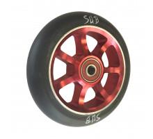 Колесо для самоката 00-180103 для труюкового самоката, фрезерованное алюминиевое с промподшипниками ABEC9 100мм SUB анодированное красно-черное