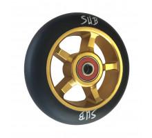 Колесо для самоката 00-180104 для труюкового самоката, фрезерованное алюминиевое с промподшипниками ABEC9 100мм SUB анодированное золотисто- черное