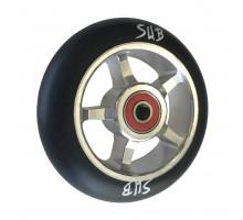Колесо для самоката 00-180108 для труюкового самоката, фрезерованное алюминиевое с промподшипниками ABEC9 100мм SUB анодированное серебристо-черное