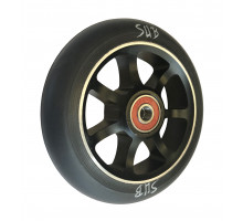 Колесо для самоката 00-180120 для труюкового самоката, фрезерованное алюминиевое с промподшипниками ABEC9 110мм SUB анодированное черное