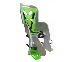 Сиденье 01-100080 детское на багажник CURIOSO DELUXE светло-серое с зеленой вставкой до 22кг 'NFUN