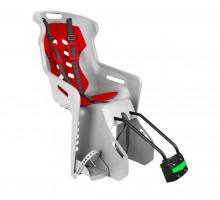 Сиденье 01-100123 детское на подседельный штырь BRIOSO светло-серое с красной вставкой (доп. черная вставка в подарок) до 22кг 'NFUN