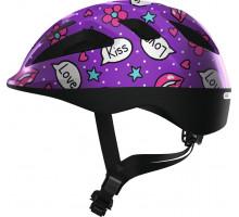 Шлем 05-0081856 Smooty 2.0 детский S(45-50) с регулировкой, 200гр, 14отв, сетка от насекомых, фиолетовые сердечки ABUS