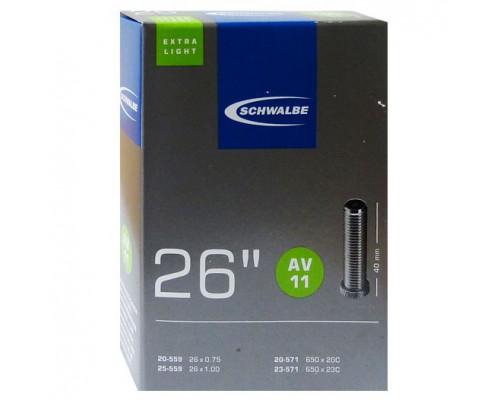 Камера. 26″ авто ниппель 05-10422310 AV11 EXTRA LIGHT (20/25-559/571) IB AGV 40mm. SCHWALBE