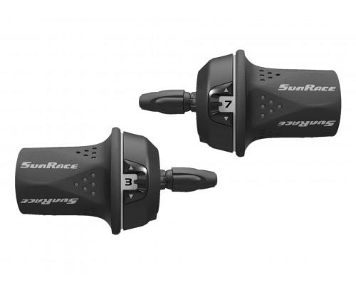 Переключатель скоростей TSM21.L300.GS0.HP, 06-201575 Грипшифт M21 левый, 3ск, трос 1700мм, SUNRACE
