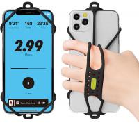 Держатель для смартфона 07-200320 силиконовый на кисть руки универсальный 4.7'-7,2' RUN TIE HANDHELD для бега и свободного ношения черный BONE