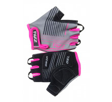Перчатки 08-202007 детские лайкра RACE LINE серо-неоновый розовый, размер 4/S (для 2-4 лет), GRIP GEL, с петельками, на липучке FUZZ