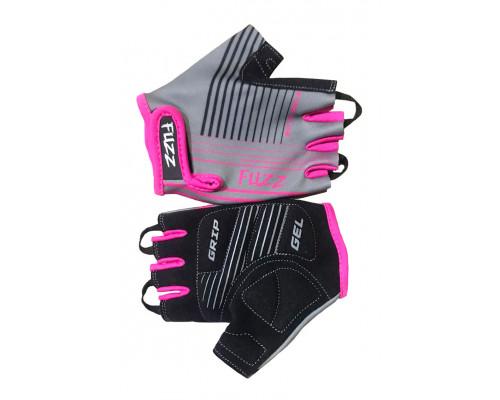 Перчатки 08-202008 детские лайкра RACE LINE серо-неоновый розовый, размер 6/M (для 4-6 лет), GRIP GEL, с петельками, на липучке FUZZ