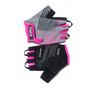 Перчатки 08-202009 детские лайкра RACE LINE серо-неоновый розовый, размер 8/L (для 6-8 лет), GRIP GEL, с петельками, на липучке FUZZ