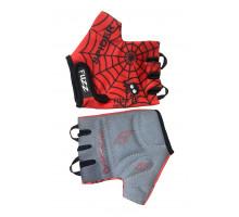 Перчатки 08-202021 детские лайкра SPIDER красно-черные, размер 4/S (для 2-4 лет), GRIP GEL, с петельками, на липучке FUZZ