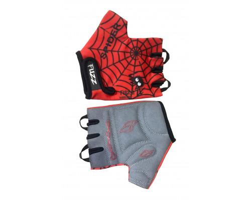Перчатки 08-202023 детские лайкра SPIDER красно-черные, размер 8/L (для 6-8 лет), GRIP GEL, с петельками, на липучке FUZZ