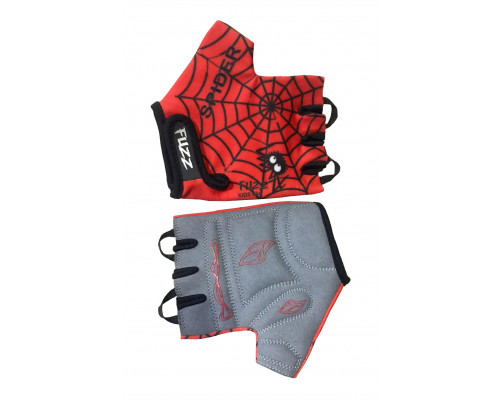 Перчатки 08-202024 детские лайкра SPIDER красно-черные, размер 10/XL (для 8-10 лет), GRIP GEL, с петельками, на липучке FUZZ