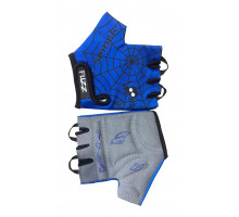 Перчатки 08-202027 детские лайкра SPIDER сине-черные, размер 4/S (для 2-4 лет), GRIP GEL, с петельками, на липучке FUZZ