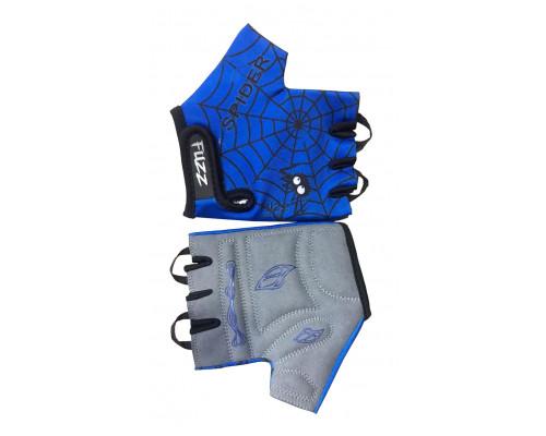 Перчатки 08-202028 детские лайкра SPIDER сине-черные, размер 6/M (для 4-6 лет), GRIP GEL, с петельками, на липучке FUZZ
