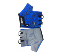 Перчатки 08-202030 детские лайкра SPIDER сине-черные, размер 10/XL (для 8-10 лет), GRIP GEL, с петельками, на липучке FUZZ