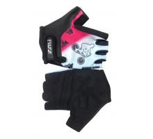 Перчатки 08-202049 детские лайкра BIKE бело-розовые, размер 8/L (для 6-8 лет), GRIP GEL, на липучке FUZZ