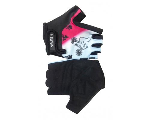 Перчатки 08-202050 детские лайкра BIKE бело-розовые, размер 10/XL (для 8-10 лет), GRIP GEL, на липучке FUZZ