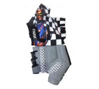 Перчатки 08-202061 детские лайкра RACE CARS бело-черные, размер 4/S (для 2-4 лет), GRIP GEL, с петельками, на липучке FUZZ