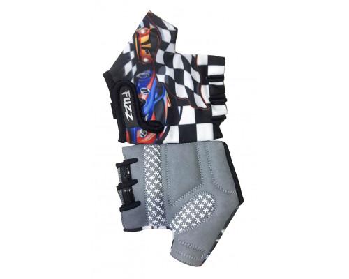 Перчатки 08-202063 детские лайкра RACE CARS бело-черные, размер 8/L (для 6-8 лет), GRIP GEL, с петельками, на липучке FUZZ