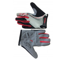 Перчатки 08-202103 детские с длинными пальцами лайкра PRO RACE серо-красные, размер 8/L (для 6-8 лет), GEL PRO, на липучке FUZZ