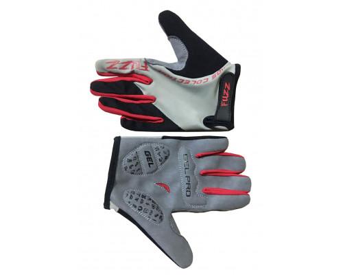 Перчатки 08-202104 детские с длинными пальцами лайкра PRO RACE серо-красные, размер 10/XL (для 8-10 лет), GEL PRO, на липучке FUZZ
