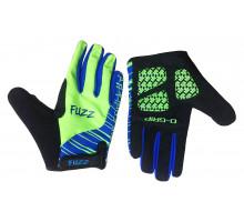 Перчатки 08-202113 детские с длинными пальцами лайкра PRO RACE неон зеленые-синие, размер 8/L (для 6-8 лет), GEL PRO, на липучке FUZZ