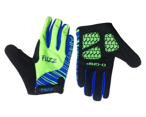 Перчатки 08-202114 детские с длинными пальцами лайкра PRO RACE неон зеленые-синие, размер 10/XL (для 8-10 лет), GEL PRO, на липучке FUZZ