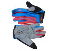 Перчатки 08-202123 детские с длинными пальцами лайкра PRO RACE сине-красные, размер 8/L (для 6-8 лет), GEL PRO, на липучке FUZZ